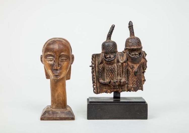 Benin Bronze Group of Two Figures and an African Carved Wood Head of a Girl