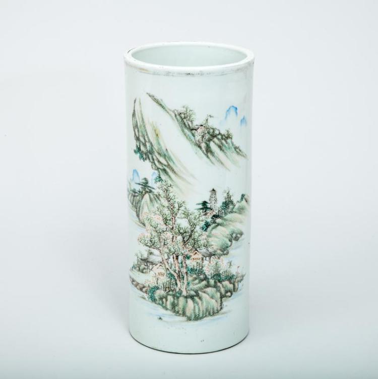 Chinese Famille Rose Style Porcelain Cylindrical Brush Pot