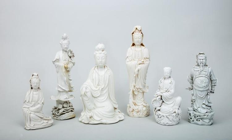 Five Chinese Blanc de Chine Porcelain Figures of Kwan Yin and a Figure of a War Lord