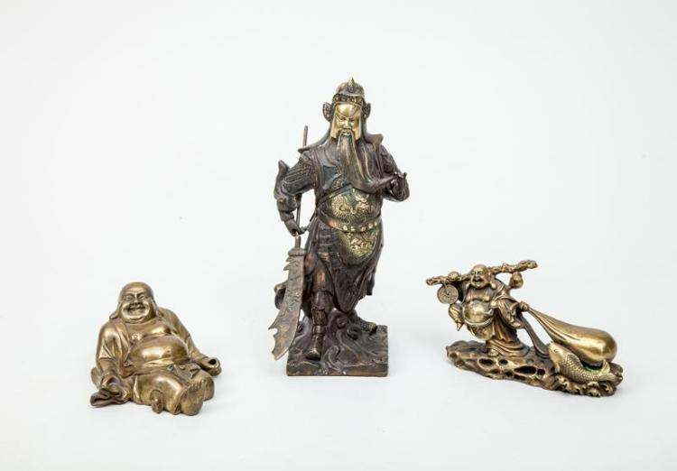 Chinese Brass Figure of a Warrior and Two Brass Figures of Hotei