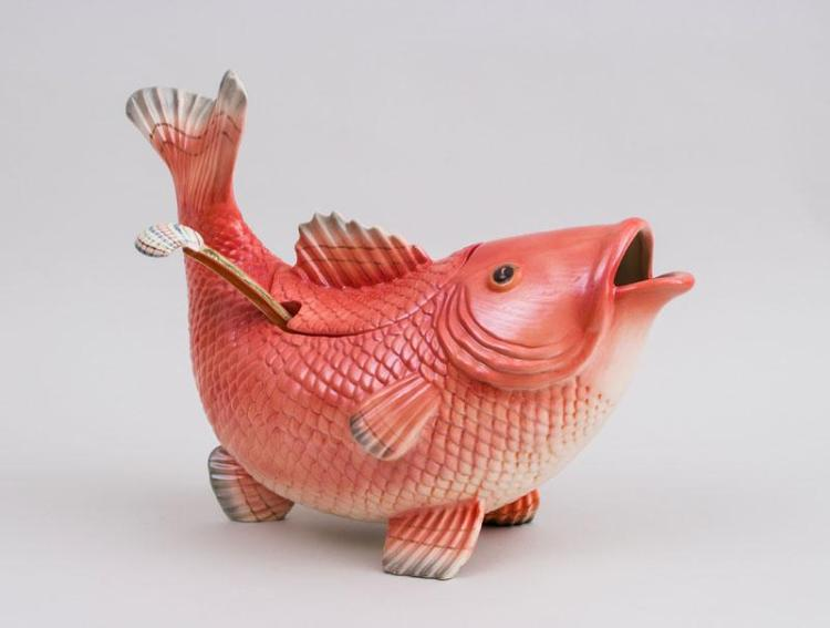 Fitz and Floyd Pottery Carp-Form Tureen and Cover and a Ladle