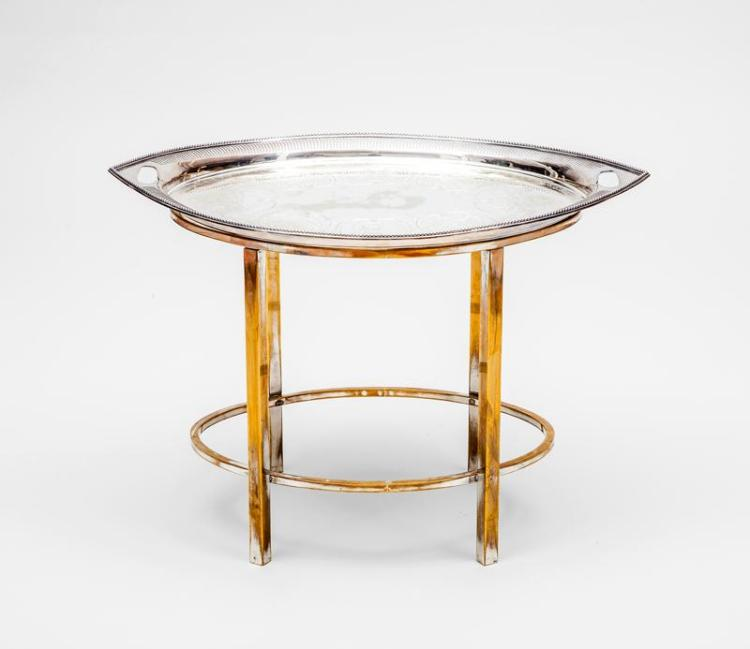English Silver-Plated Tea Tray on Rubbed Brass Stand