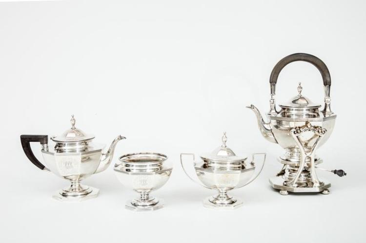 Durgin Monogrammed Silver Four-Piece Part Tea Set