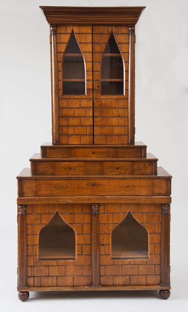 SOUTH GERMAN STAINED FRUITWOOD AND MAHOGANY CABINET