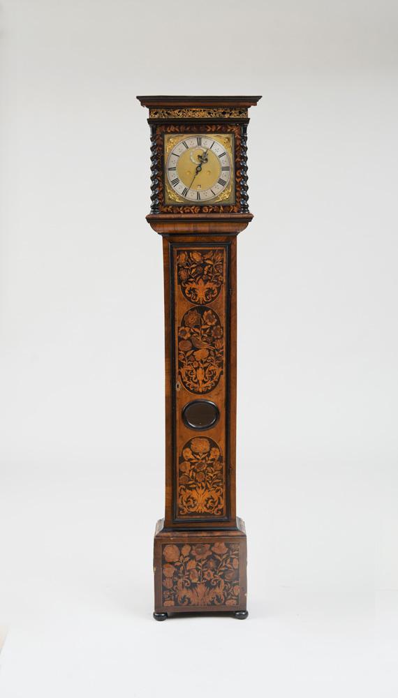 WILLIAM AND MARY WALNUT, EBONY, FRUITWOOD, MARQUETRY AND EBONIZED LONGCASE CLOCK