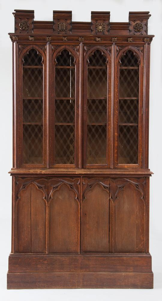 ENGLISH NEO-GOTHIC OAK BOOKCASE, CHARLES BARRY AND A.W.N. PUGIN
