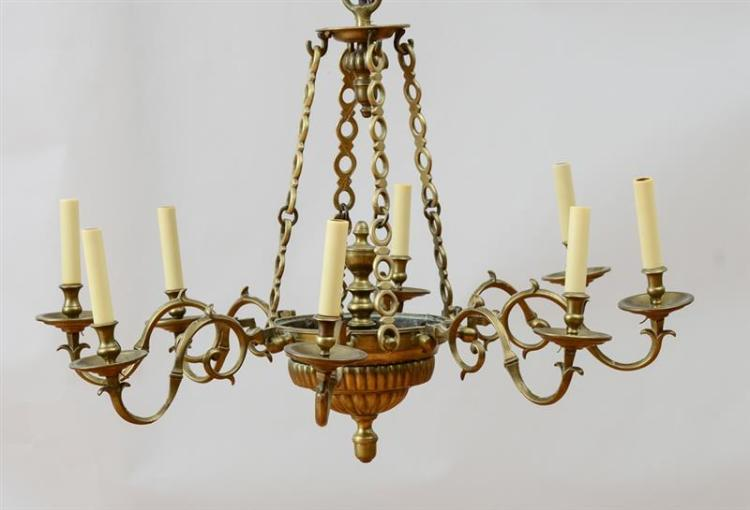 CONTINENTAL BAROQUE BRASS EIGHT-LIGHT CHANDELIER