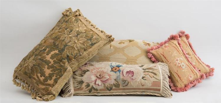 GROUP OF SIX TAPESTRY-COVERED PILLOWS