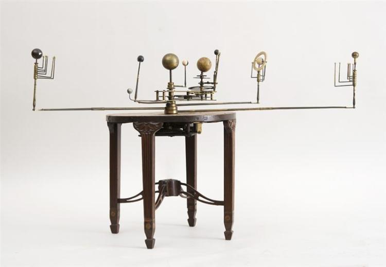 GEORGE III ORRERY ON INLAID AND CARVED MAHOGANY STAND