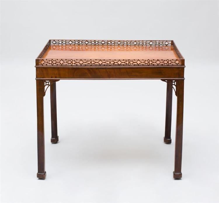 EARLY GEORGE III CARVED MAHOGANY SILVER TABLE