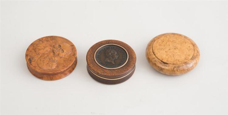 THREE CIRCULAR WOOD SNUFF BOXES