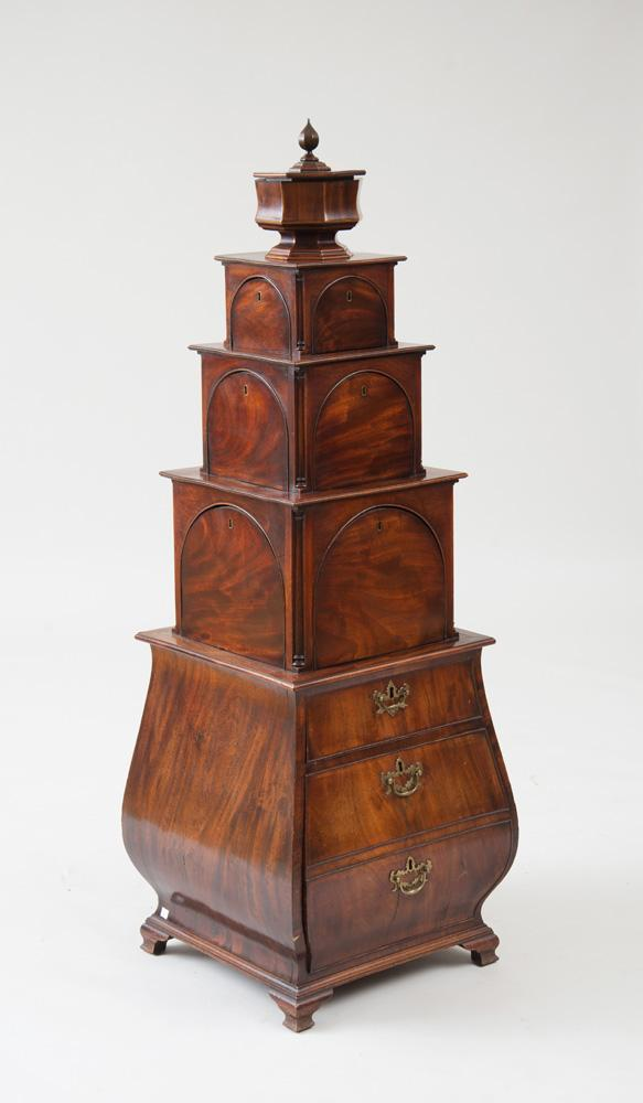 UNUSUAL GEORGE III CARVED AND INLAID MAHOGANY STACKING CELLARETTE
