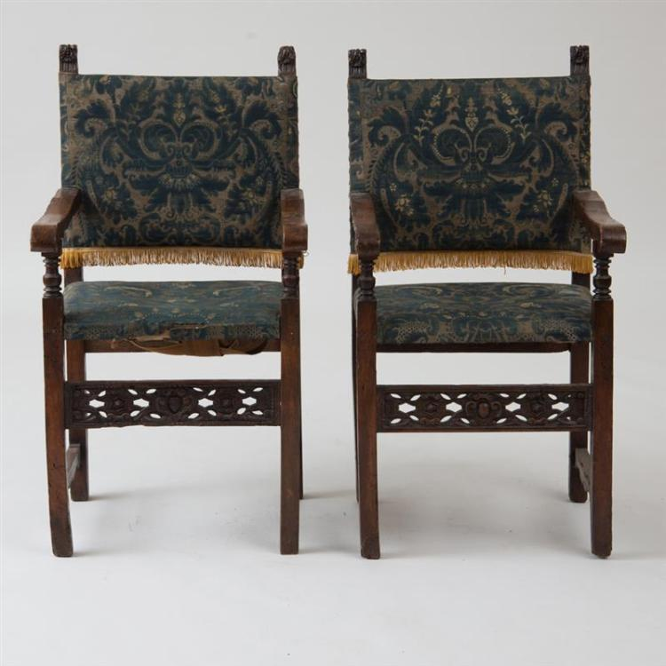PAIR OF ITALIAN BAROQUE CARVED WALNUT ARMCHAIRS