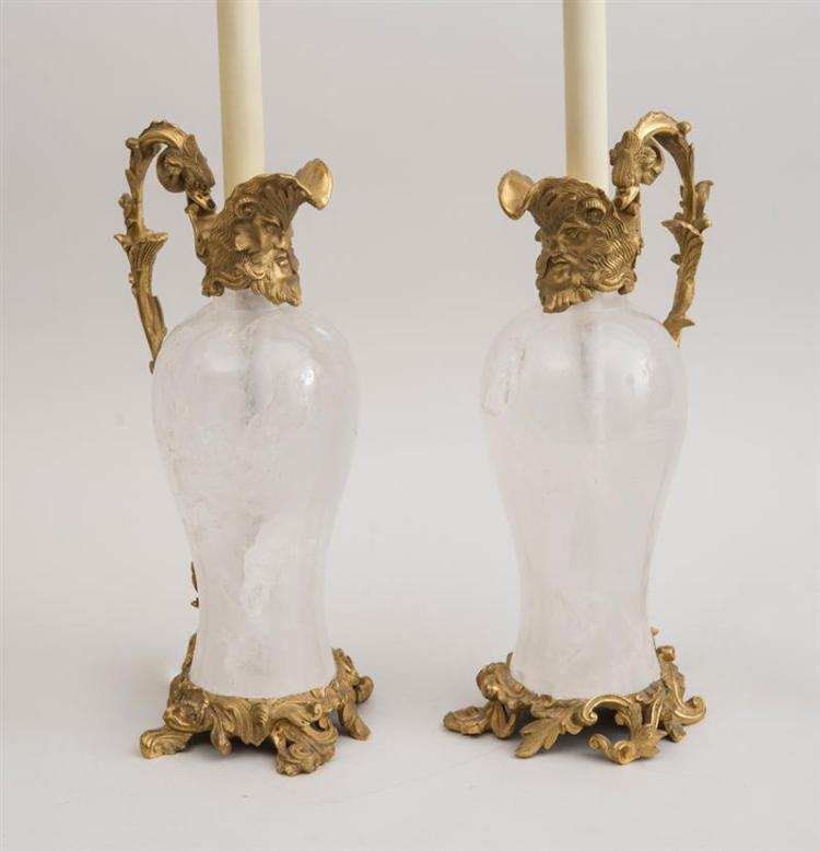 PAIR OF LOUIS XV STYLE GILT BRONZE-MOUNTED ROCK CRYSTAL EWERS, MOUNTED AS LAMPS