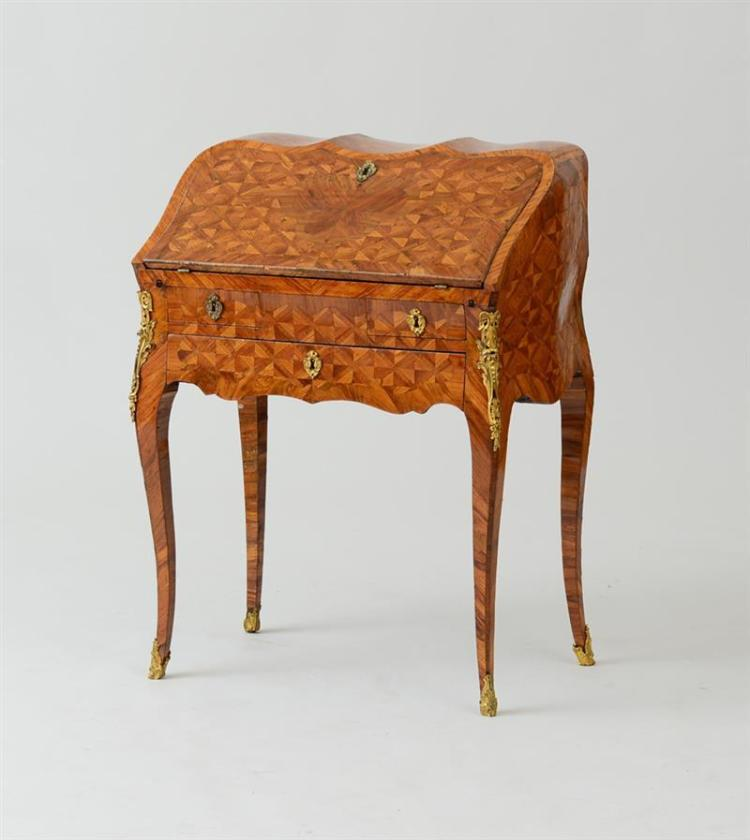 LOUIS XV ORMOLU-MOUNTED TULIPWOOD AND KINGWOOD PARQUETRY BUREAU EN PENTE