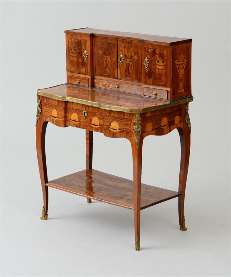 LOUIS XV/XVI ORMOLU-MOUNTED TULIPWOOD, FRUITWOOD AND KINGWOOD MARQUETRY BONHEUR DU JOUR, ATTRIBUTED TO CHARLES TOPINO