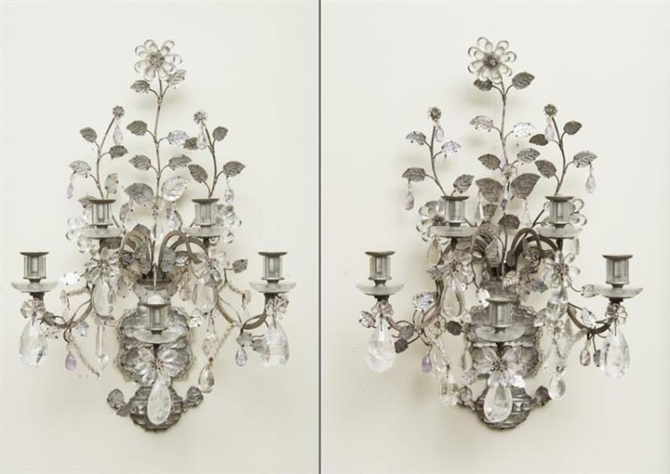 PAIR OF LOUIS XV STYLE SILVERED-METAL-MOUNTED ROCK CRYSTAL FIVE-LIGHT SCONCES