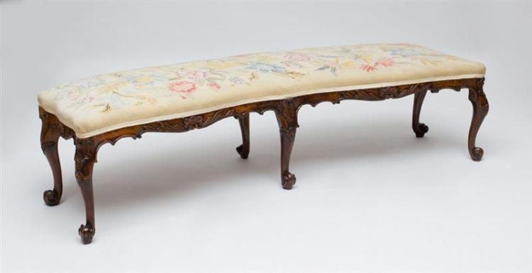 GEORGE II CARVED SOLID MAHOGANY WINDOW BENCH