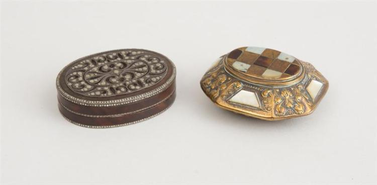 AUSTRIAN FACETED CUT STEEL OVAL SNUFF BOX AND A CONTINENTAL MOTHER-OF-PEARL INLAID REPOUSSÉ BRASS BOX