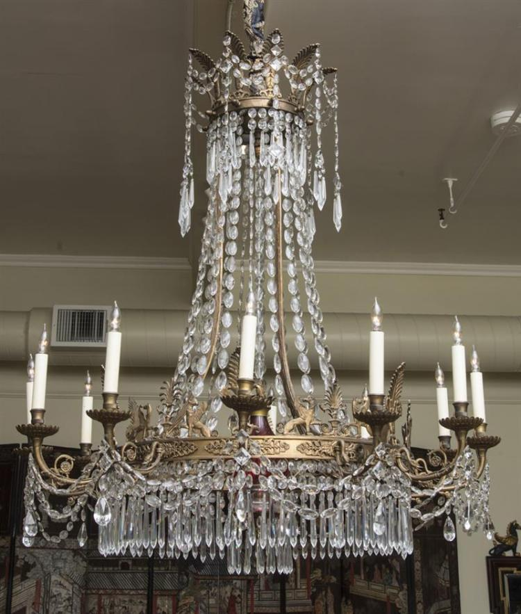 EMPIRE STYLE GILT-METAL-MOUNTED CUT-GLASS AND RUBY GLASS EIGHT-LIGHT CHANDELIER