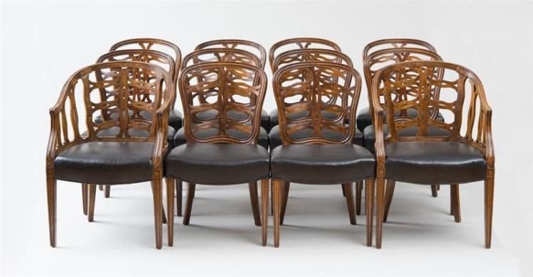 SET OF TWELVE GEORGE III STYLE FRUITWOOD DINING CHAIRS