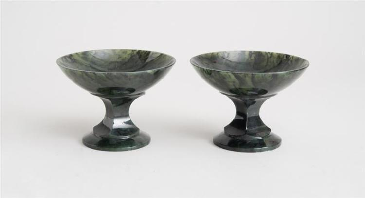 PAIR OF SPINACH GREEN JADE TAZZAS, POSSIBLY RUSSIAN