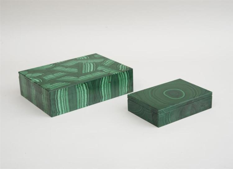 TWO MALACHITE CIGARETTE BOXES