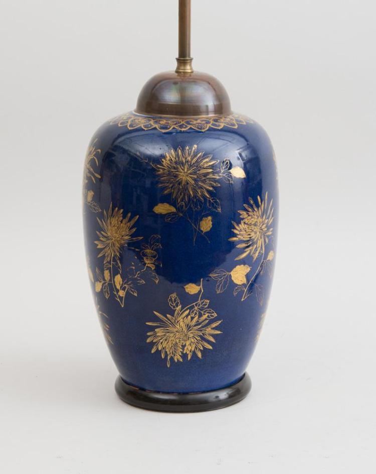 CHINESE GILT-DECORATED BLUE-GLAZED PORCELAIN OVOID VASE, MOUNTED AS A LAMP
