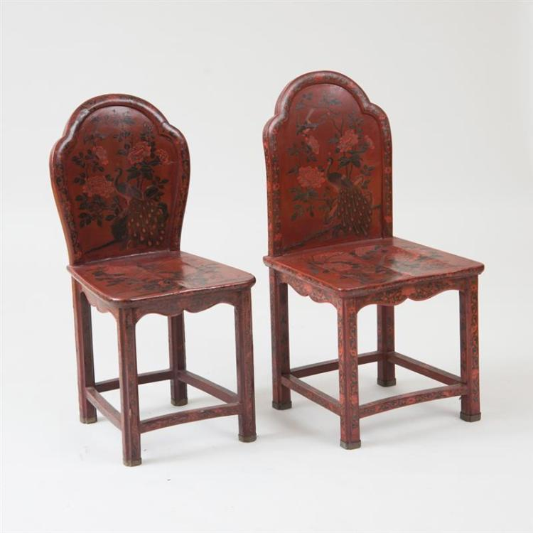 TWO SIMILAR CHINESE EXPORT RED LACQUER HALL CHAIRS
