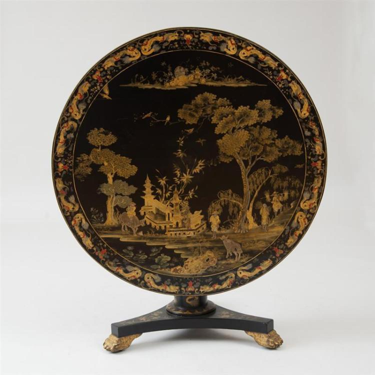 FINE REGENCY BLACK JAPANNED AND PARCEL-GILT TILT-TOP TABLE