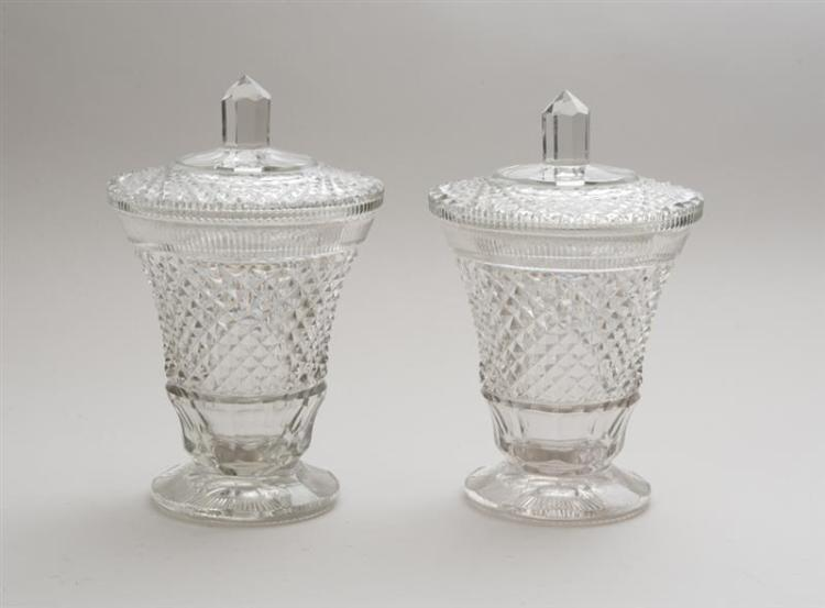 PAIR OF MODERN ANGLO IRISH CUT-GLASS BEAKER-FORM JARS AND COVERS