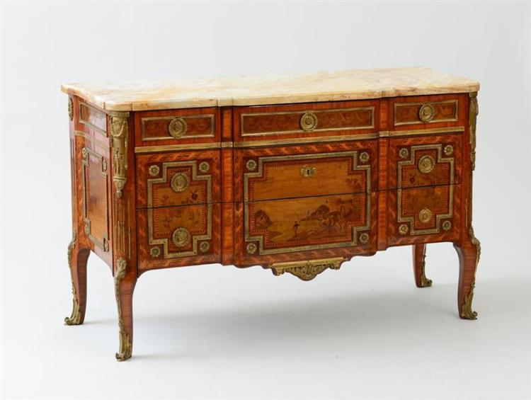 LOUIS XV/XVI STYLE GILT-BRONZE-MOUNTED KINGWOOD AND TULIPWOOD MARQUETRY COMMODE