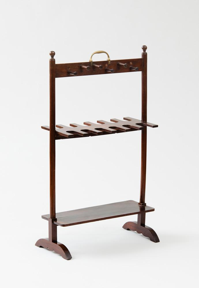 ENGLISH BRASS-MOUNTED MAHOGANY BOOT AND WHIP STAND