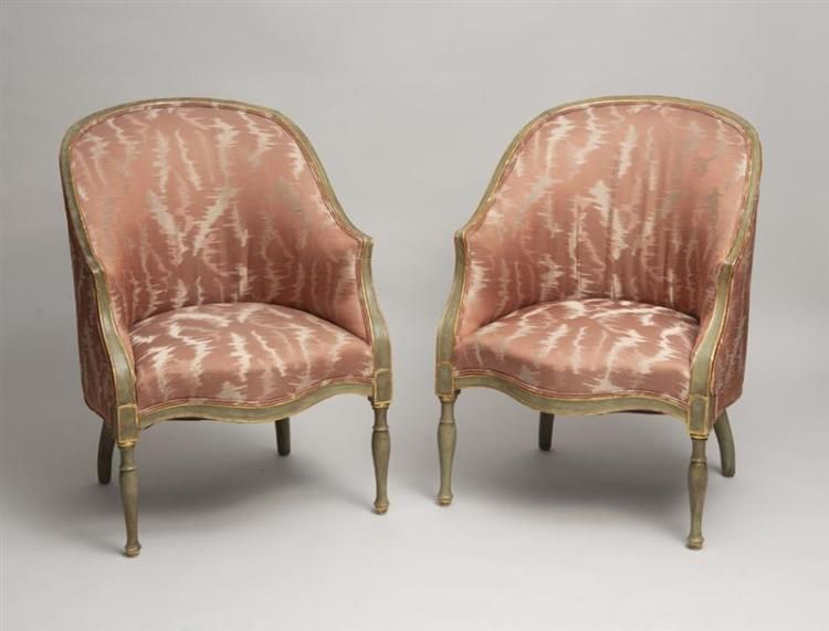 PAIR OF GEORGE III STYLE GREEN-PAINTED AND PARCEL-GILT BERGÈRES