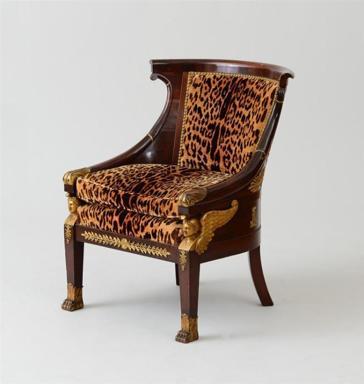 EMPIRE ORMOLU-MOUNTED MAHOGANY AND PARCEL-GILT BERGÈRE EN GONDOLE