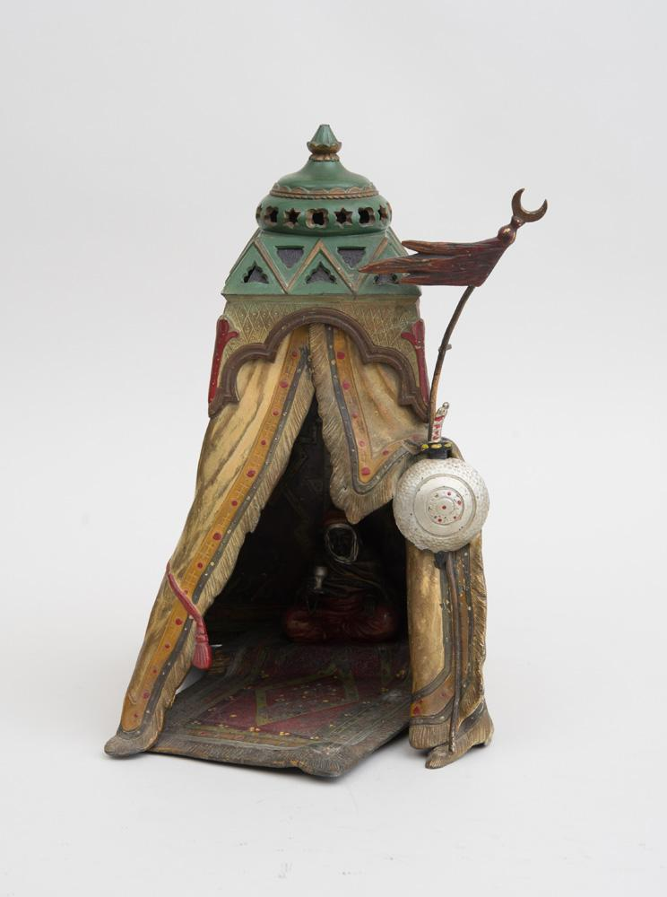 AUSTRIAN COLD-PAINTED METAL FIGURAL LAMP