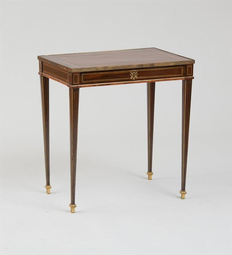 NORTH GERMAN NEOCLASSICAL BRASS-MOUNTED AND INLAID AMARANTHE AND TULIPWOOD SIDE TABLE