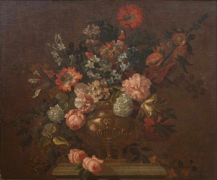 PIETER HARDIME (1677-1758): STILL LIFE WITH FLOWERS IN AN URN