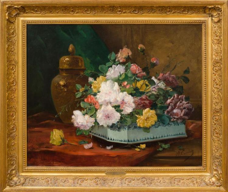 EUGÈNE HENRI CAUCHOIS (1850-1911): BOUQUET OF FLOWERS IN A DELFT VASE