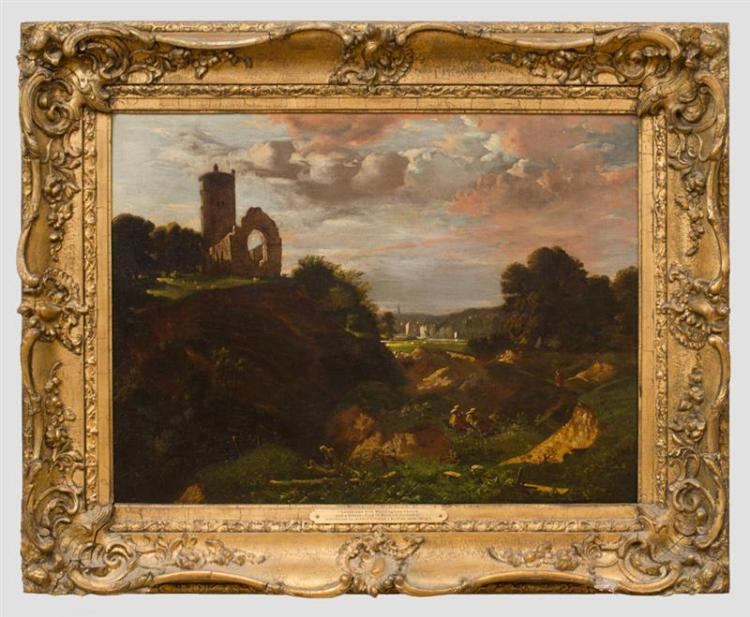 ATTRIBUTED TO JOHN JOSEPH COTTON (1814-1878): LANDSCAPE WITH WHITLINGHAM CHURCH