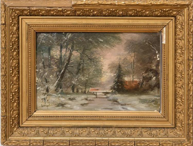 ATTRIBUTED TO LOUIS APOL (1850-1936): WINTER LANDSCAPE AT SUNSET