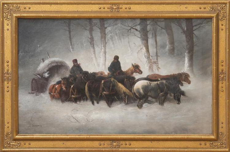 AFTER CHRISTIAN ADOLF SCHREYER (1828-1899): RUSSIAN WINTER CARAVAN
