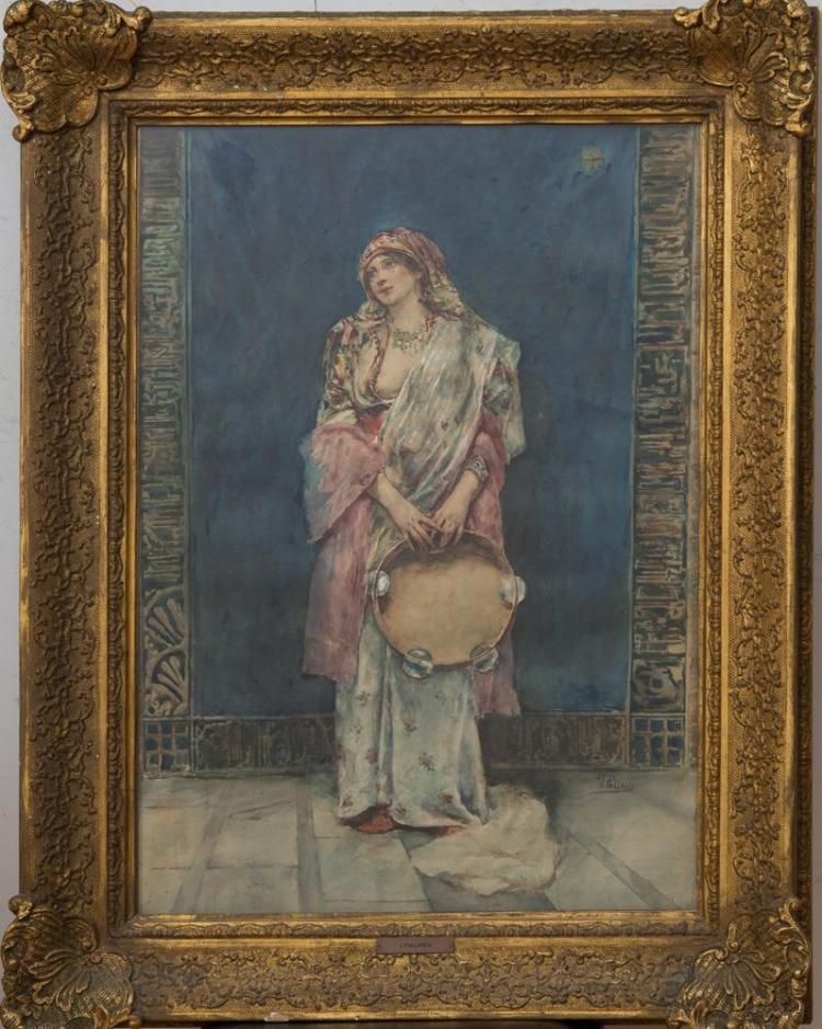 JOAQUIN PALLARÉS ALLUSTANTE (1853-1935): STANDING WOMAN WITH A TAMBOURINE