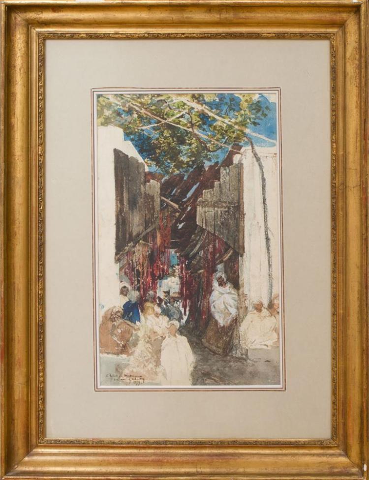 GEORGES CLARIN (1843-1919): ARAB STREET SCENE