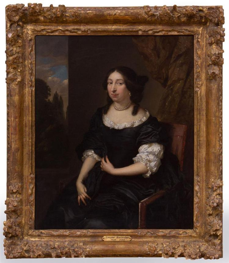 ATTRIBUTED TO CASPAR NETSCHER (1639-1684): PORTRAIT OF A LADY