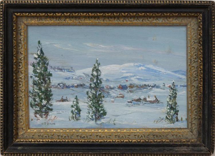 WALTER E. BAUM (1884-1956): SNOWY LANDSCAPE