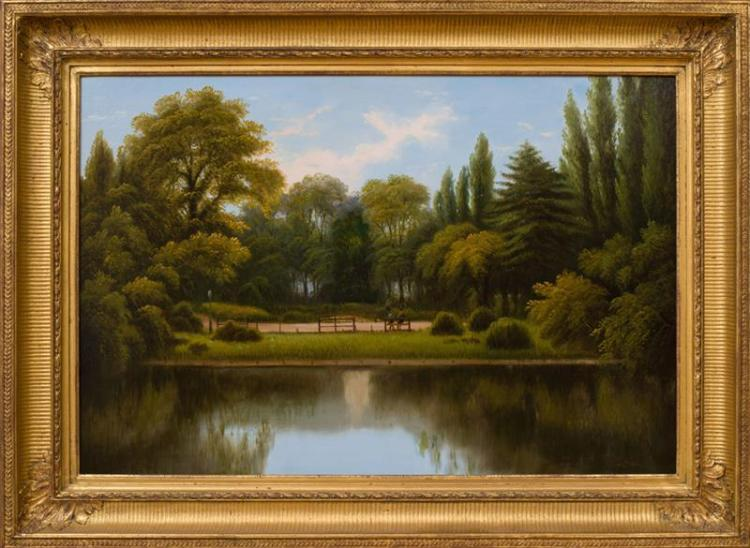 AMERICAN SCHOOL: LANDSCAPE WITH PARK BENCH
