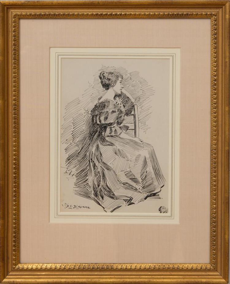 FREDERICK CARL FRIESEKE (1874-1939): ELEGANT WOMAN SEATED