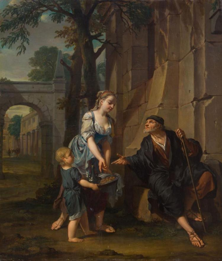 NICHOLAS VERKOLJE (1673-1746): AN ALLEGORY OF CHARITY: A YOUNG WOMAN AND A BOY OFFERING SUSTENANCE TO AN OLD MAN