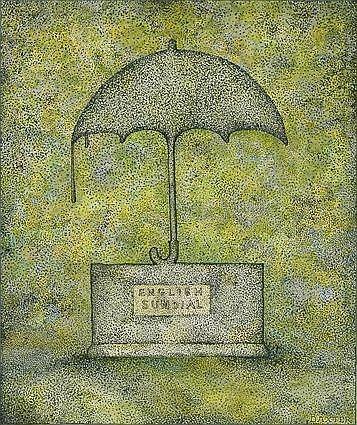 GLEN BAXTER (b. 1944): ENGLISH SUNDIAL Watercolor